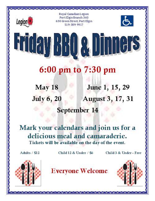 Legion BBQ dinners
