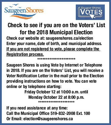 Are you on the 2018 Voters' List? | Saugeen Times